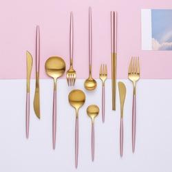 304 набор столовых приборов из нержавеющей стали розового золота столовая посуда столовый нож ложка Вилка палочки для еды десертная чайная л...