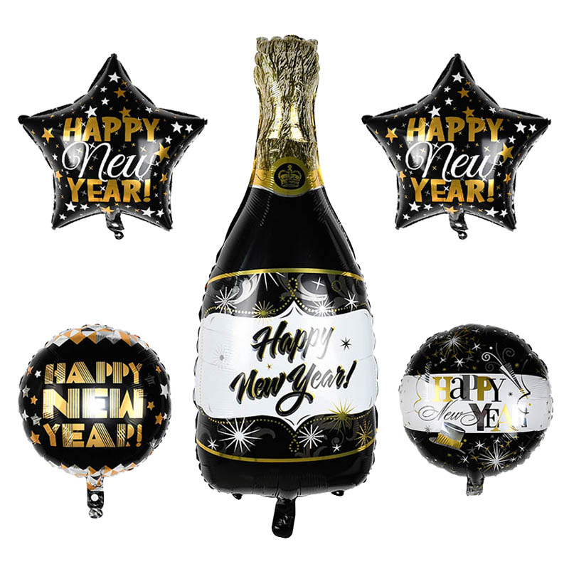 1pc Black Gold Happy New Year Decoration Balloon Bottle Star Circle Foil Balloons For New Year Christmas Party Decoration Globos