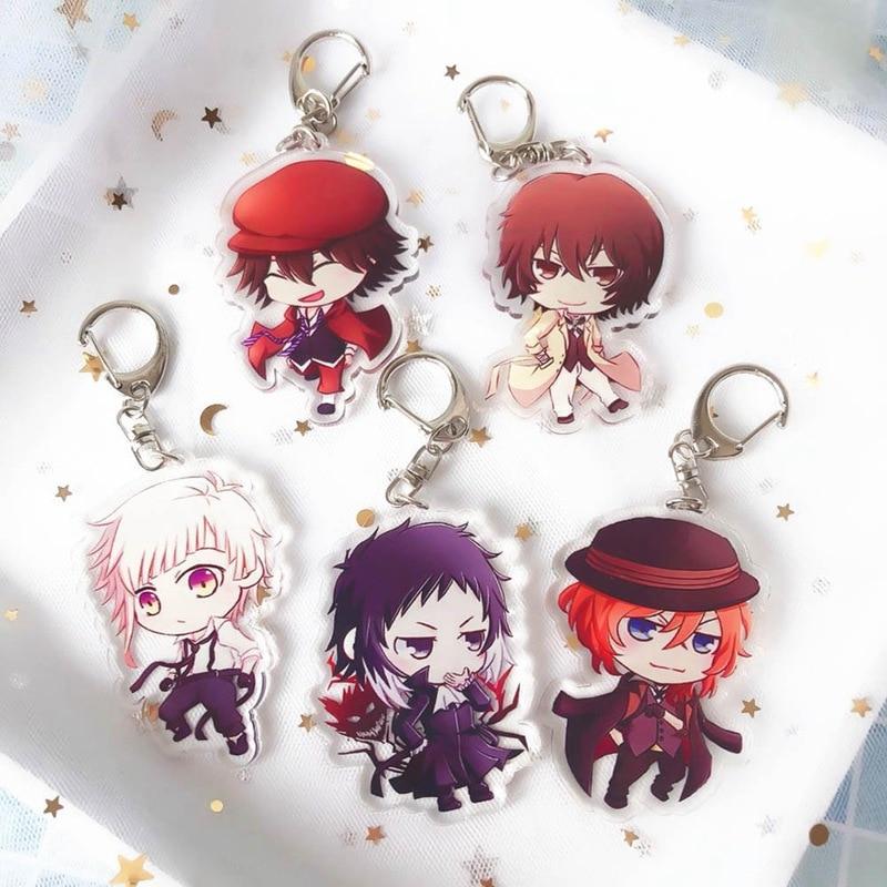 Bungou Stray Dogs Keychain Anime Rubber Strap Keychains Tsumamarekko Dazai Atsushi Ranpo Akutagawa Chuya