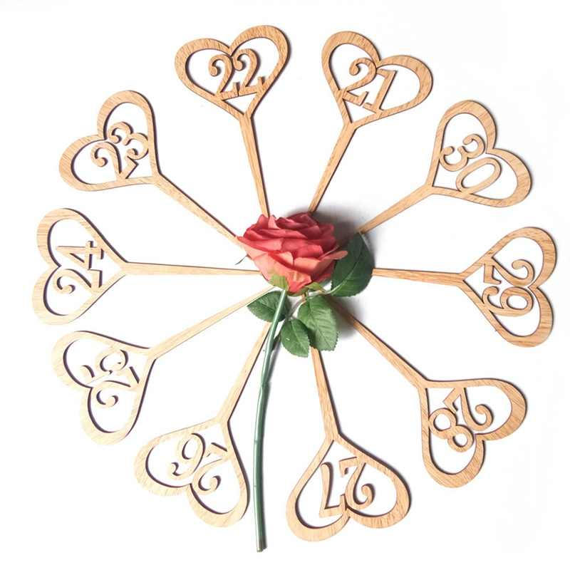 10Pcs/Set Wooden Wedding Supplies 1-30 Love Hollow Digital Flower Seat Card Wooden Wedding Table Number Plate Signs