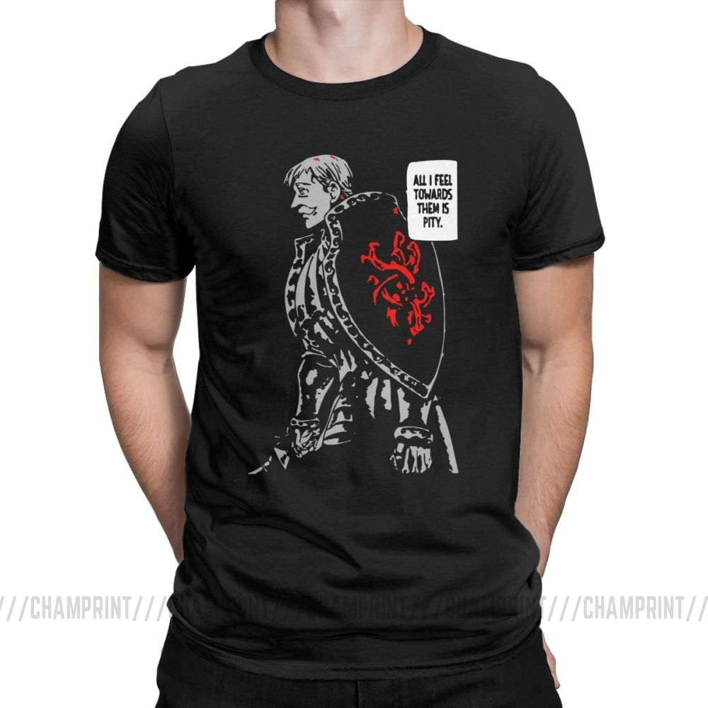 Men's T-Shirts Escanor The Seven Deadly Sins Funny 100% Cotton Tees Short Sleeve T Shirt Round Neck Clothes Printed Plus Size
