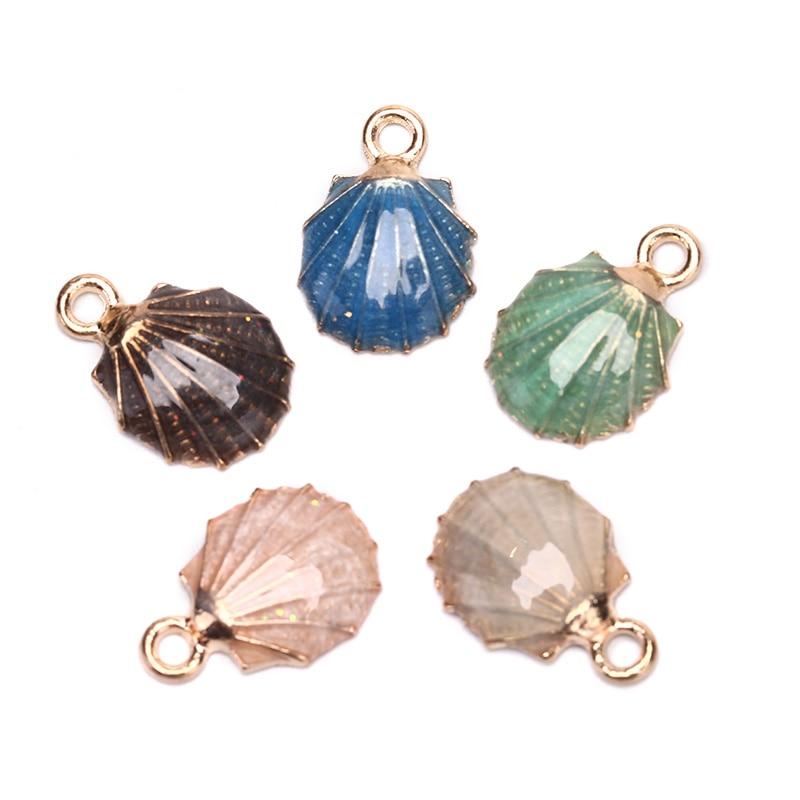 10pcs Korean Gold Nautical Beach Seashells Charms Shell DIY Alloy Pendant Enamel Hair Accessories DIY Headdress Jewelry Making