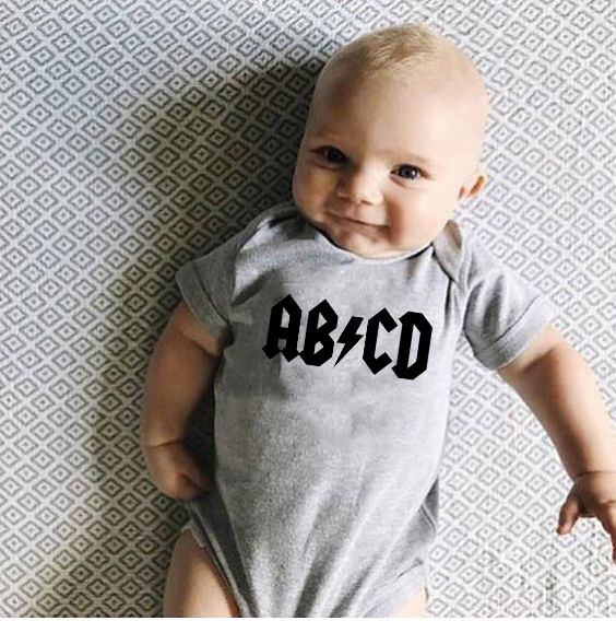 Infant Outfits Romper Letter Rock Funny Acdc Newborn Boy Jumpsuit Clothing Girls Print title=