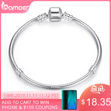 BAMOER Christmas SALE Authentic 100% 925 Sterling Silver Snake Chain Bangle & Bracelet