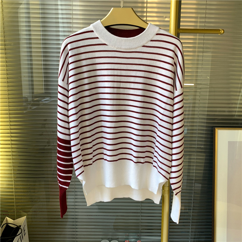 Women Stripe Knitted Sweater Autumn Winter Hit Color O Neck Long Sleeve Knitwear Pull Top