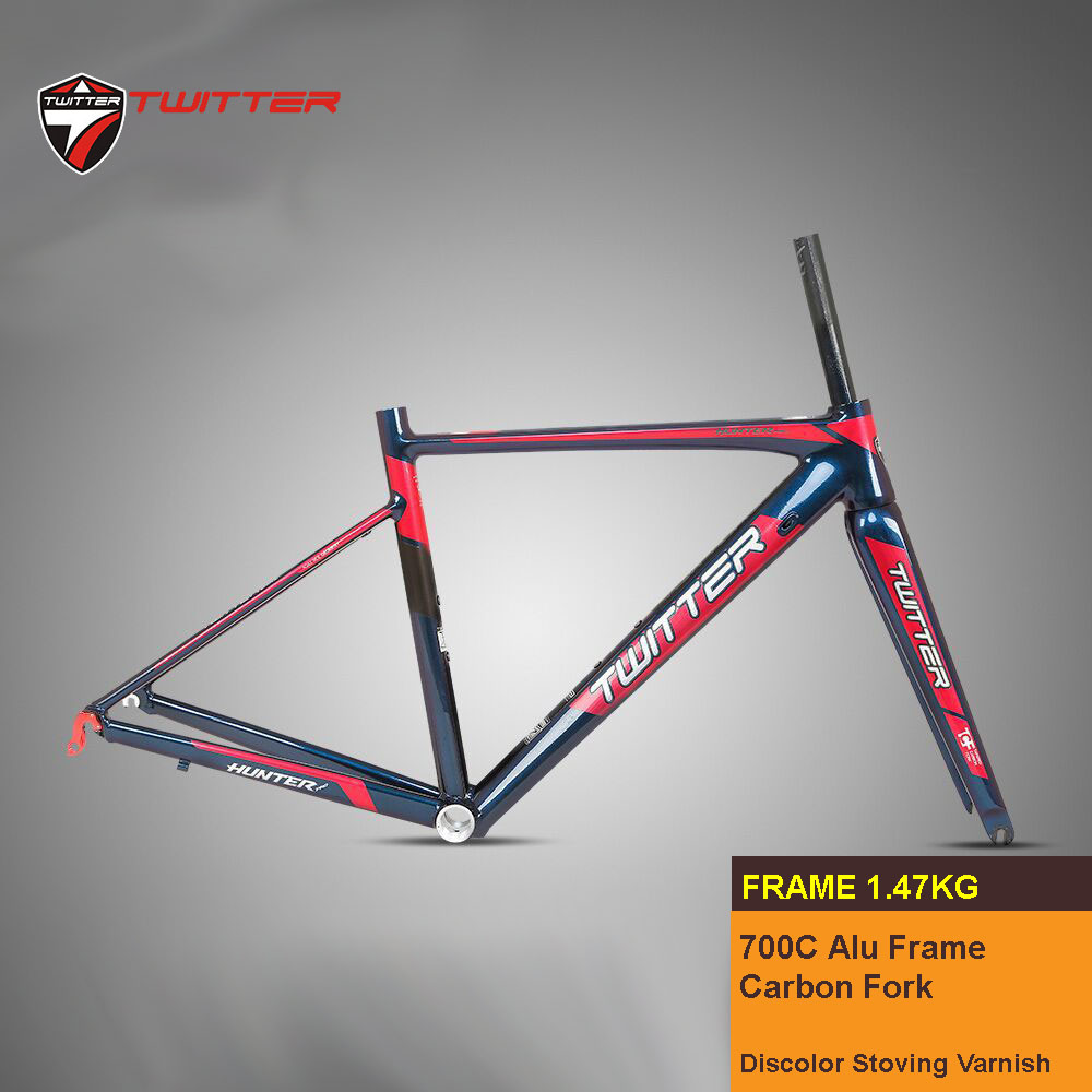 Twitter Hunterpro 700C Road Bike Frame AL7005 Fork Carbon Inner Cable V Brake Discoloring Stoving Varnish Drawing Decals title=