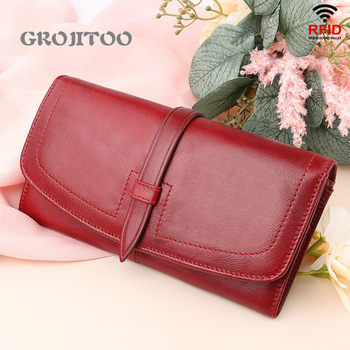 GROJITOO New genuine leather women's wallet RFID long zipper women's purse large capacity fashion handbag