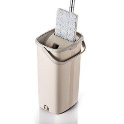 Умная плоская сухая или влажная швабра ведро с отжимом для домашней кухни микрофибра для очистки пола Швабра с самоочищающийся ведро систе...