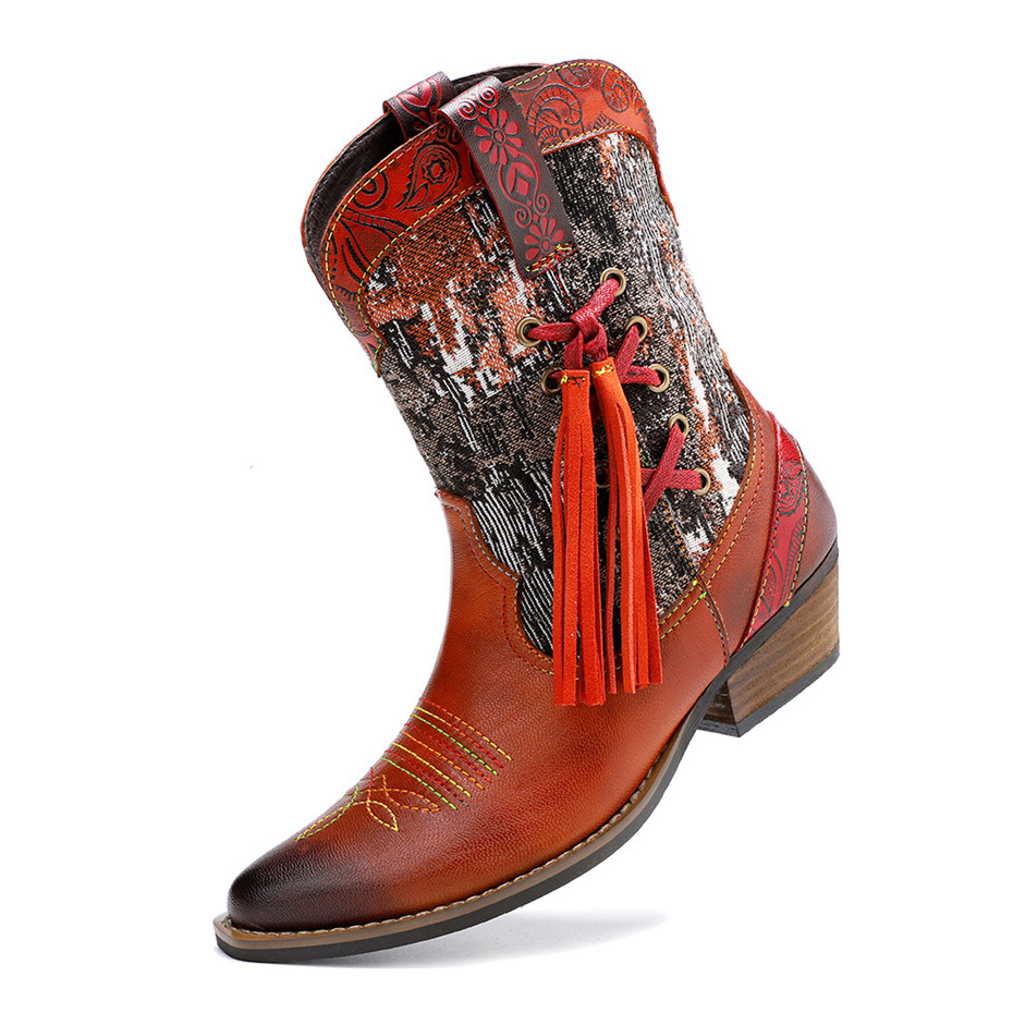 New Genuine Leather Fine Printed Ladies Shoes Ankle Boots Vintage Handmade Chunky Heel Embroidery Western Boots Shoes For Woman  (11)