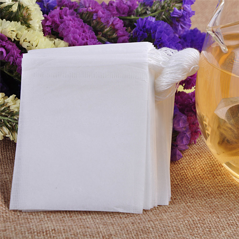 100 pcs Empty Teabags String Heat Seal Filter Paper Herb Loose Tea Bag Durable Practical  Convenient Household Items