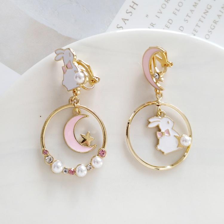 Kawaii Rabbit moon pink sailor star moon necklace with silver moon stars details anime enamel statement baby moon bunny  Pearl pastel sleepy