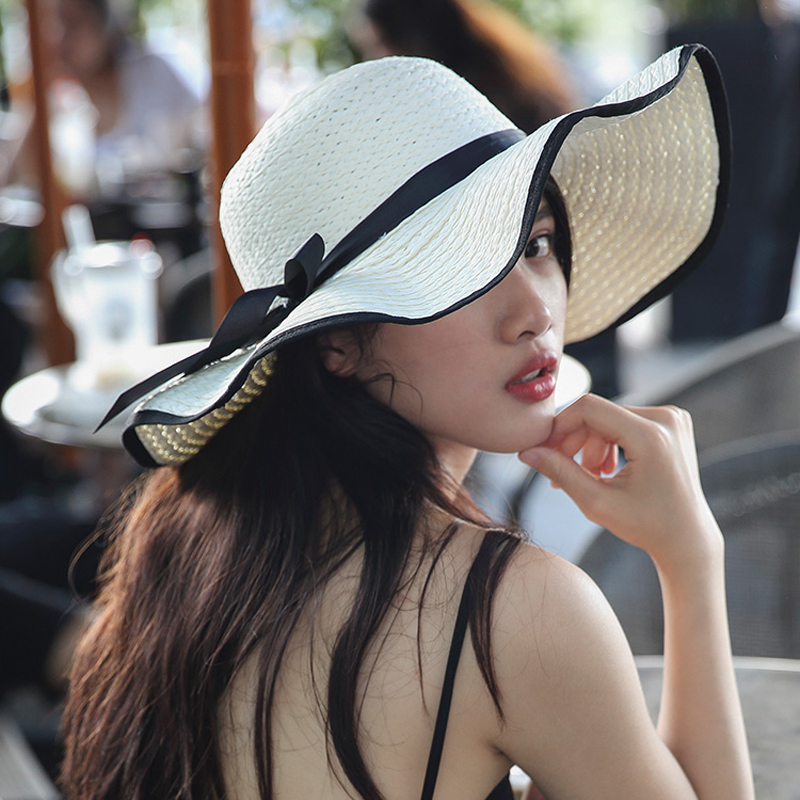 Large Brim Summer Hat Straw Women Beach Hat Sun Casual Wide Brim Bowknot Foldable Breathable Ladies Summer Hats 2020 New title=