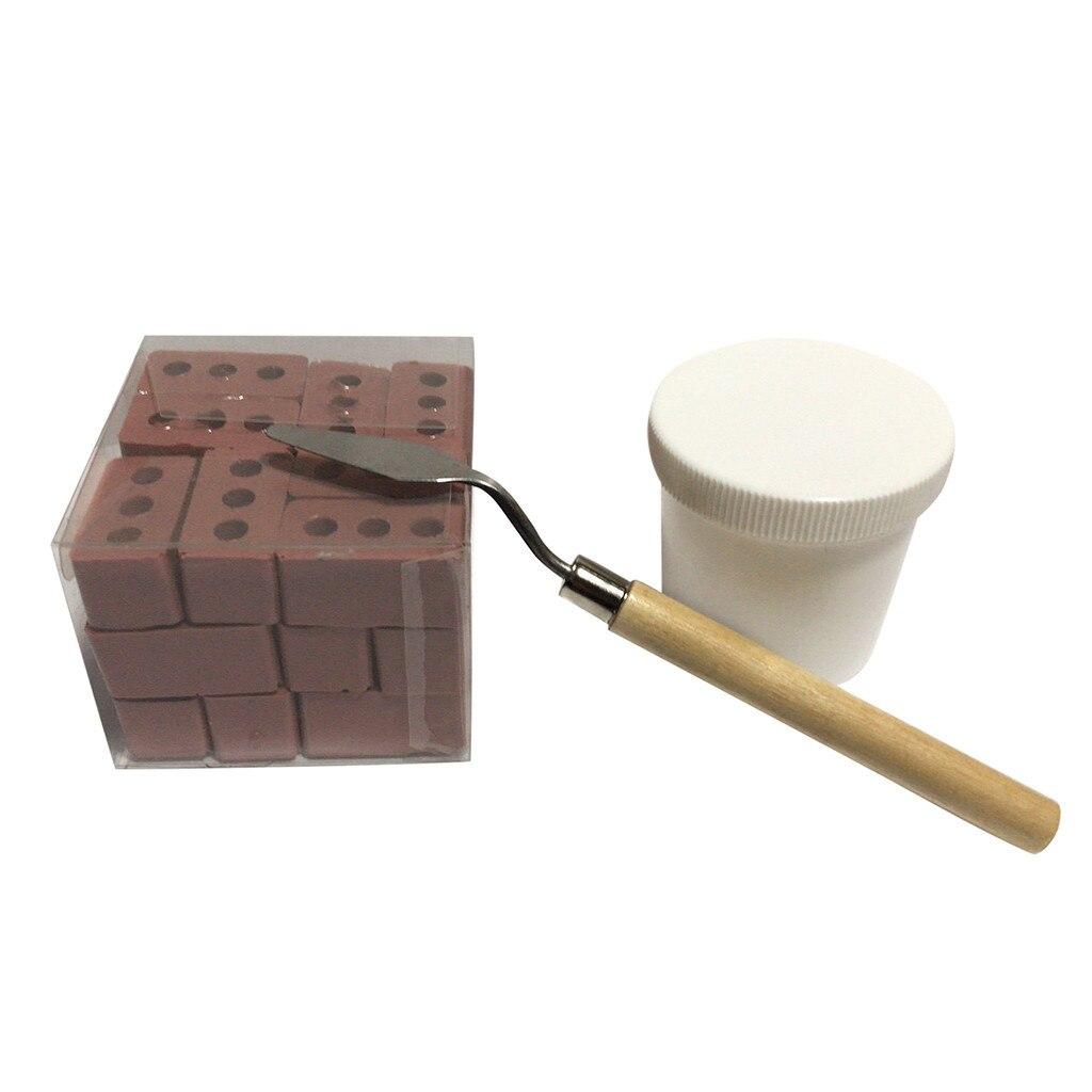 NUOVO 32Pcs MINI cemento di cemento mattoni Costruisci il tuo piccolo Muro di mattoni rossi MINI U