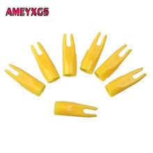 50pcs Archery Arrow Nocks Plastic For 8mm Wood Bamboo Shaft Bow Hunting Yellow