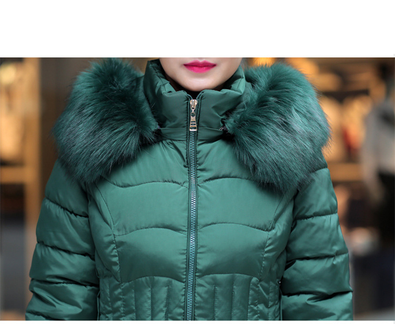 Winter Long Women Coats Parkas Slim Pleated Black Female Coat Outwear Fashion Disassembled Hooded Cotton Women Jackets MLD1271 22