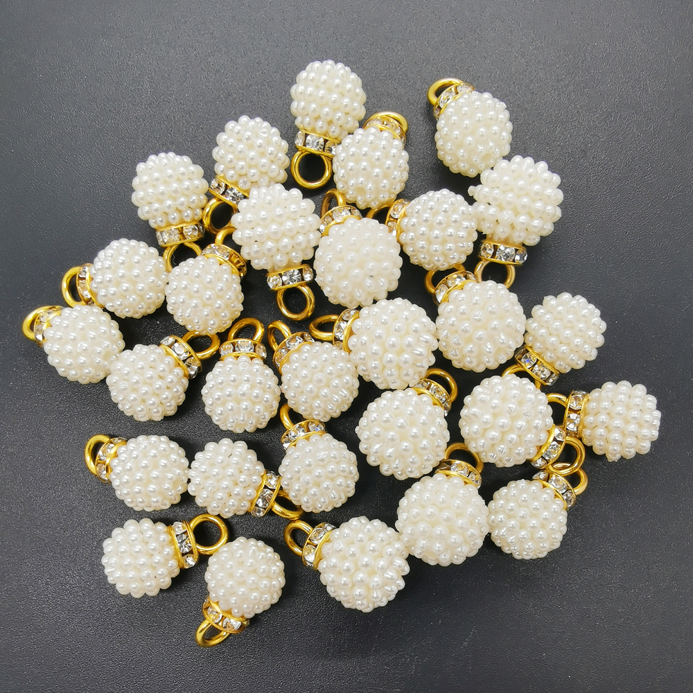 10pcs Pearl Rhinestone Charms for DIY Earring Bracelet Necklace Jewelry 14mm