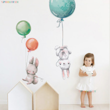 Colorful Balloon Rabbits Bedroom Wall Stickers For Kids Room Decoration Grey Bunny Wall