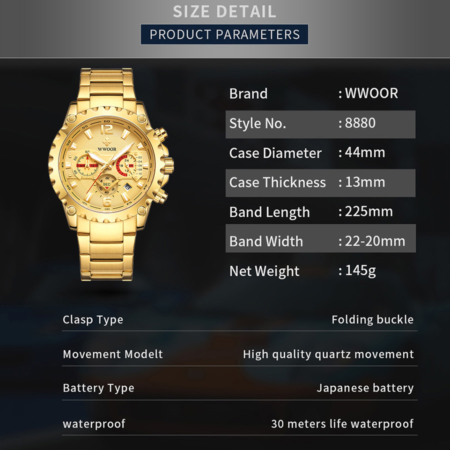 WWOOR Luxury Gold Full Steel Watch Men 2020 Sport Chronograph Quartz Wrist Watches For Men Military Waterproof Relogio Masculino