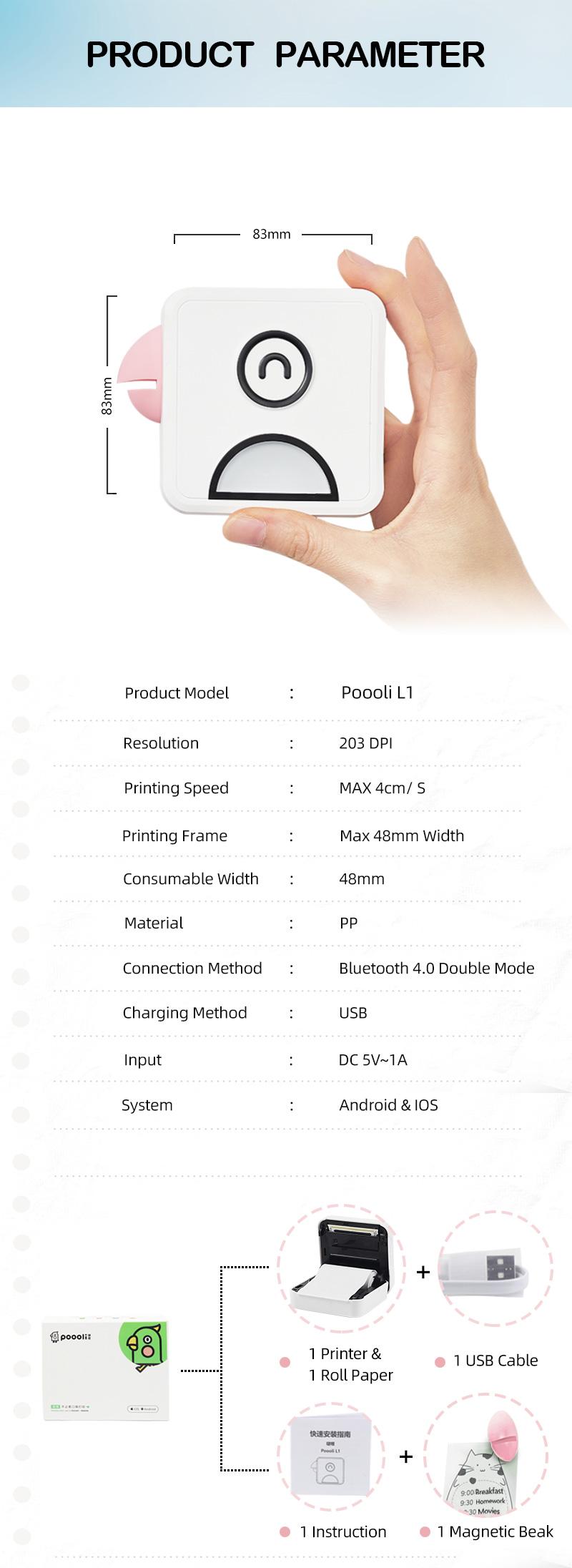 Poooli L1 Mobile Pocket Portable Mini Photo Printer