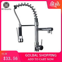 Tap Kitchen Faucet Spring Chrome-Finish Hot-And-Cold-Water-Tap Deck Mount Sink Mixer