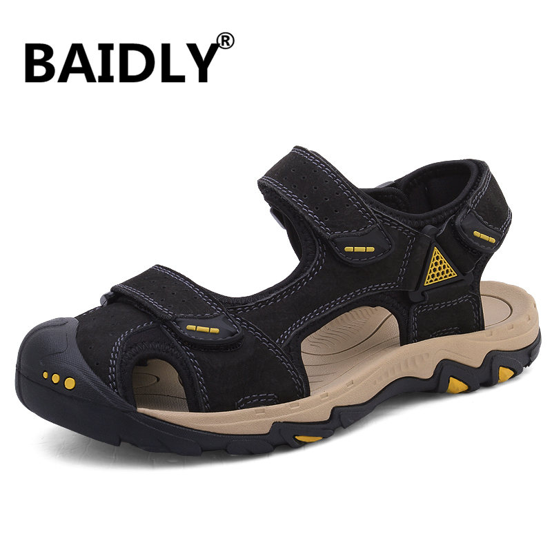 Men Cow Leather Sandals Outdoor Summer Genuine Leather Sandals Handmade Men Breathable Casual Shoes Walking Beach Sandals