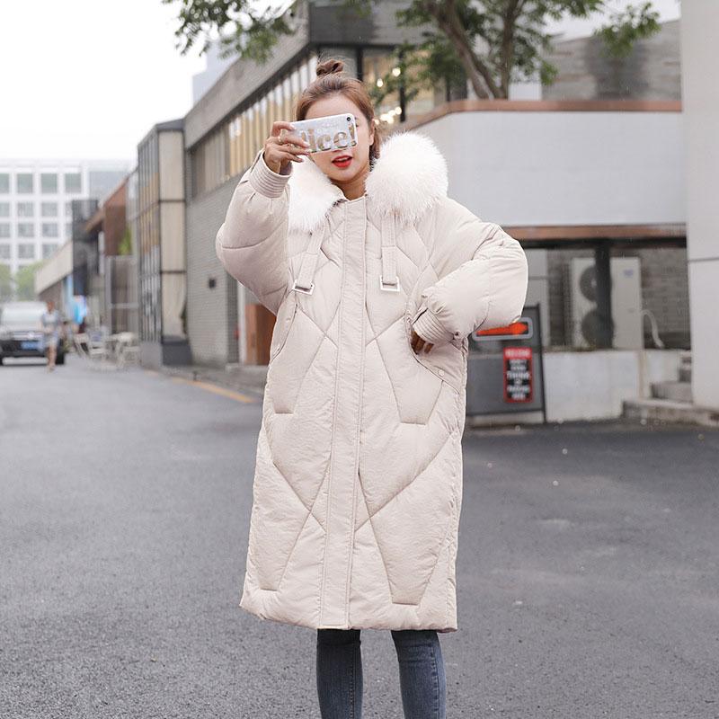 Womens Big Fur Hooded Coat Thicken Cotton Long Parkas Loose Jacket Overcoat Hot