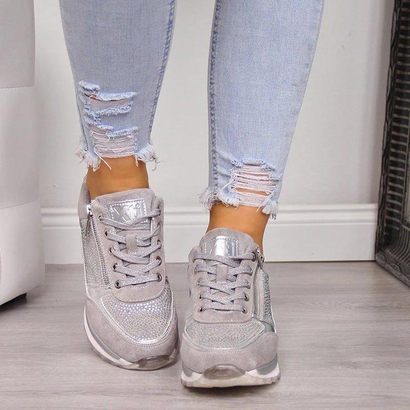 Footwear - Zipper Lace Up Comfortable Ladies Sneakers