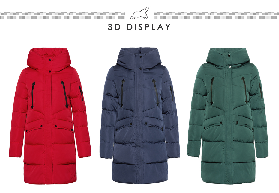 ICEbear 19 New Women Winter Jacket Coat Slim Winter Quilted Coat Long Style Hood Slim Parkas Thicken Outerwear B16G6155D 12