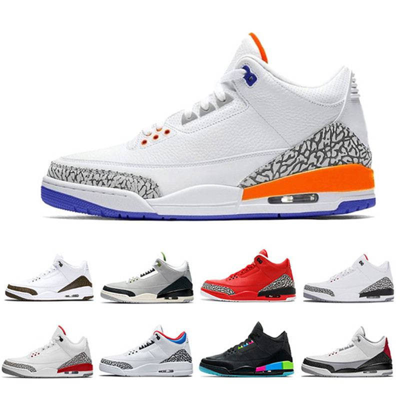 Sneakers Trainers Basketball-Shoes Multicolor Sports Designer Retro 3 Black 7 Men Us-7-12 title=