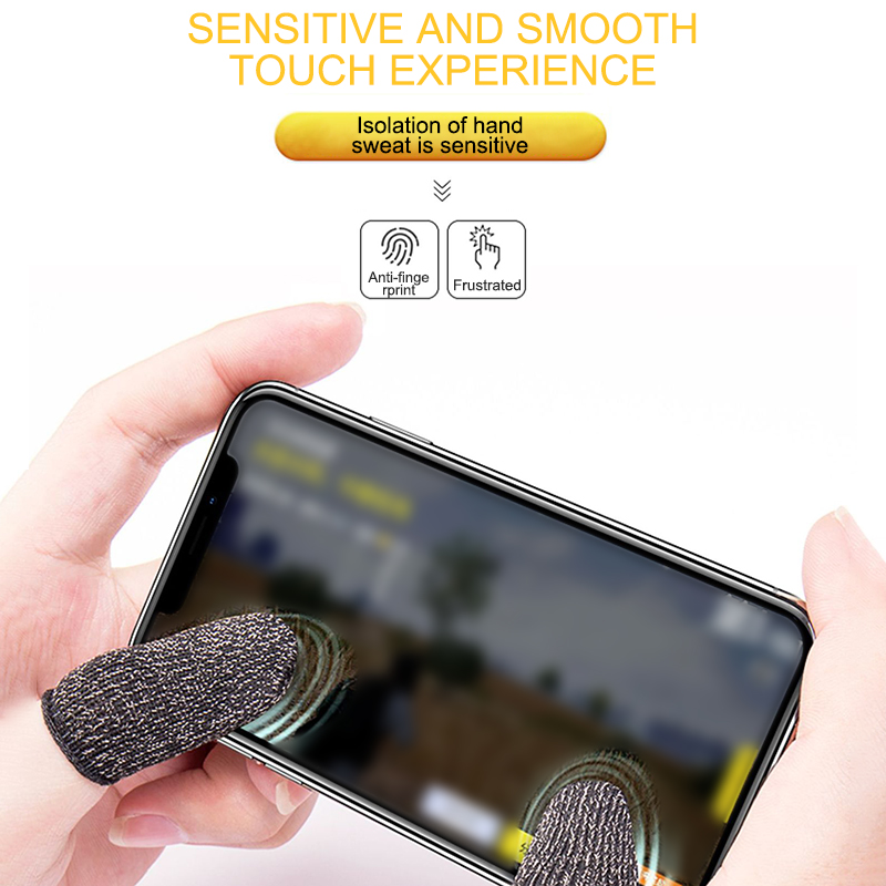 Antoyo Mobile Game Controller Finger Sleeve Sets 10 Pack Anti-Sweat Breathable Full Touch Screen Sensitive Shoot Aim Joysticks Finger Set for PUBG//Knives Out//Rules of Survival-Black for iPhone//iPad
