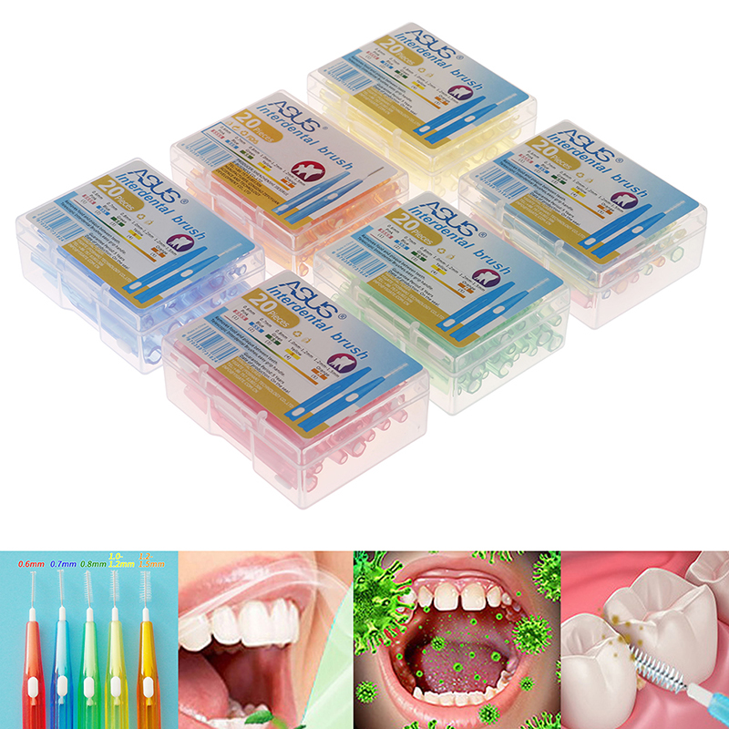 20pcs/box 5 colors Interdental Brush Oral Hygiene Clean Between Teeth oral care Floss Brushes Dental Soft Plastic Orthodontic