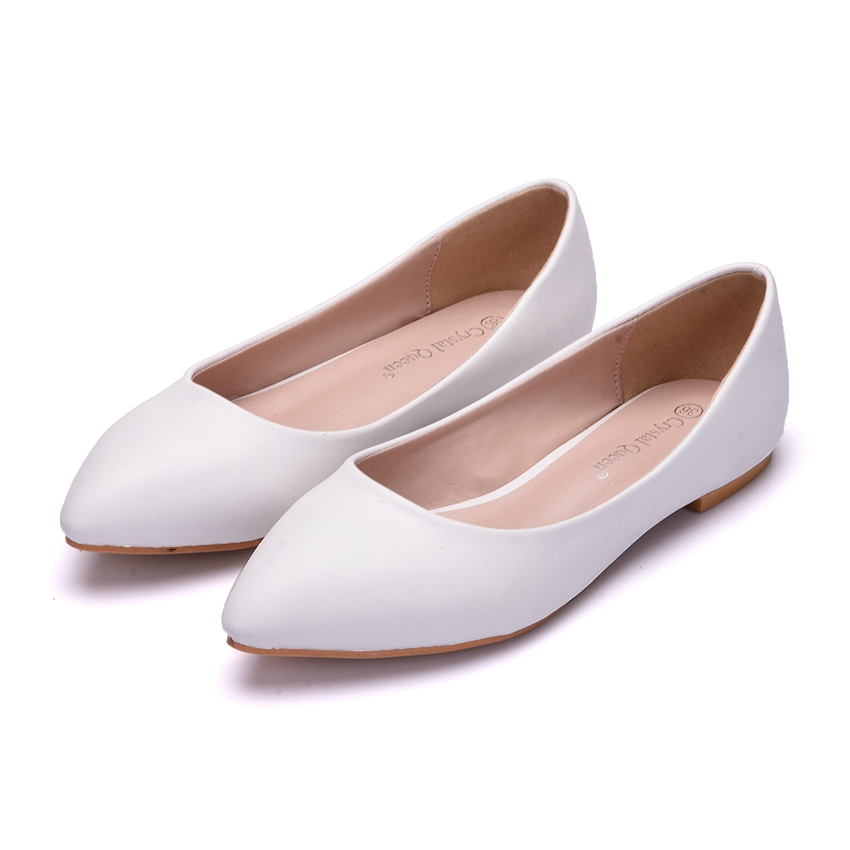 Crystal Queen New Women Shoes Flat Leather Platform Heels Shoes White Women Pointed Toe Leather Girl Flats Shoes