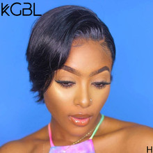 KGBL 13*4 Pixie Cut Wigs Lace Front Human Hair Wigs With Baby Hair Brazilian Non-Remy150%180%Density Medium Ratio For Woman(Китай)