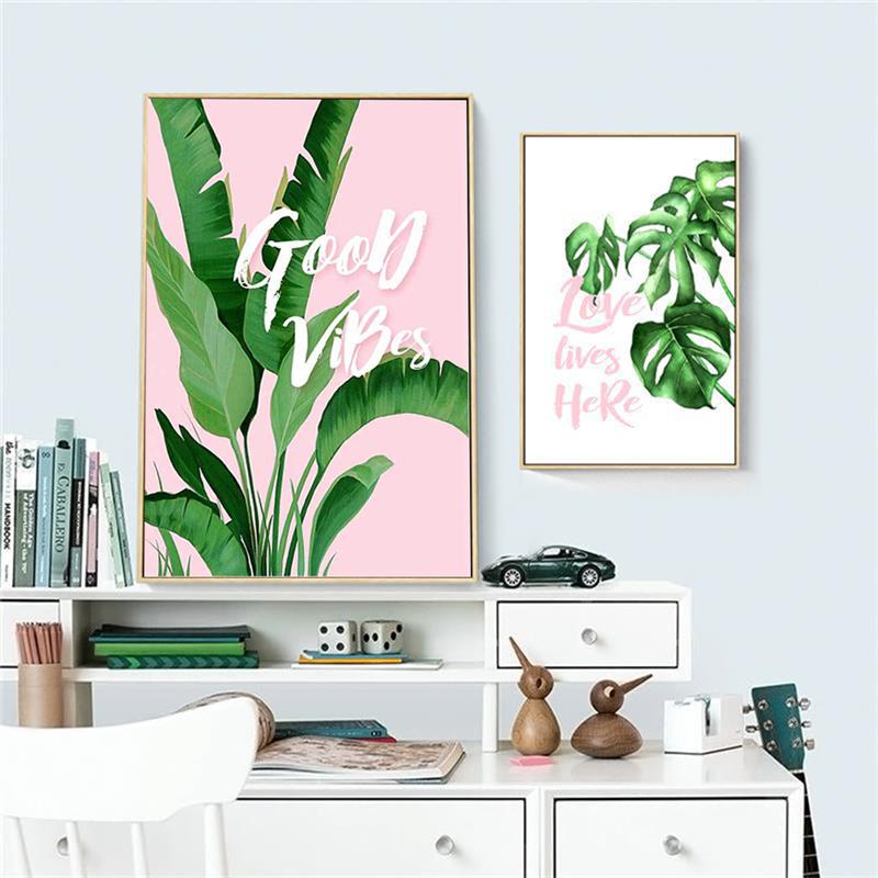 HD Impressions Toile Mur Art Feuilles Vertes Plante Photos Affiche Nordique Peinture pour Salon D/écor 40x50 cm Encadr/é vert