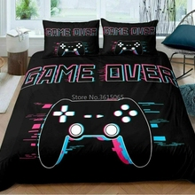 Bedding-Set Pillowcase Duvet-Cover Decor Gamepad Bed-Linen Bedroom Printed Girls Kids
