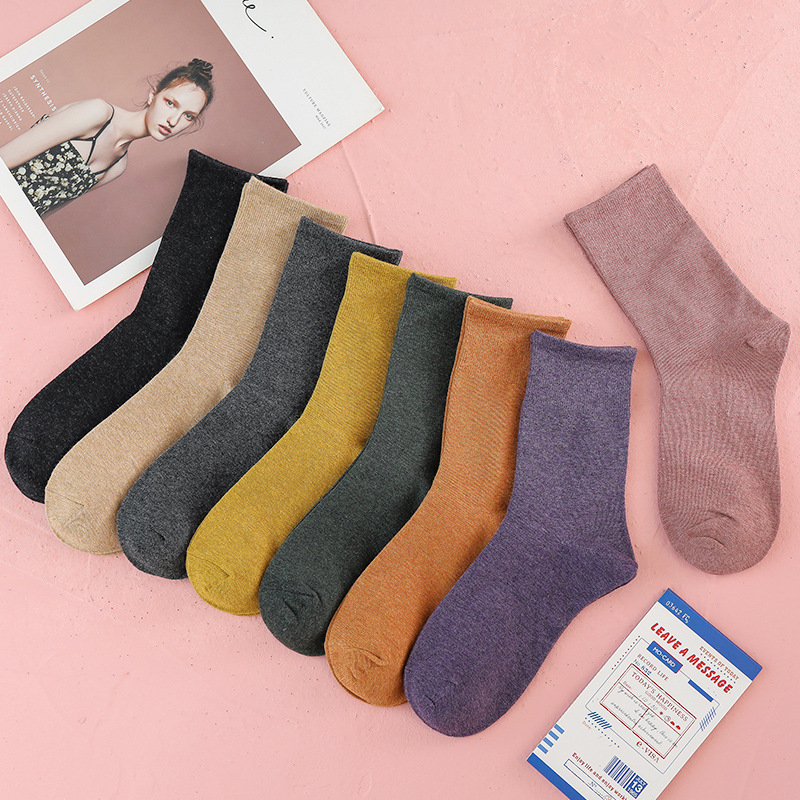 CHAOZHU 4 season daily basic business socks women girls sweet candy colors soft 100% cotton high quality korean casual sox