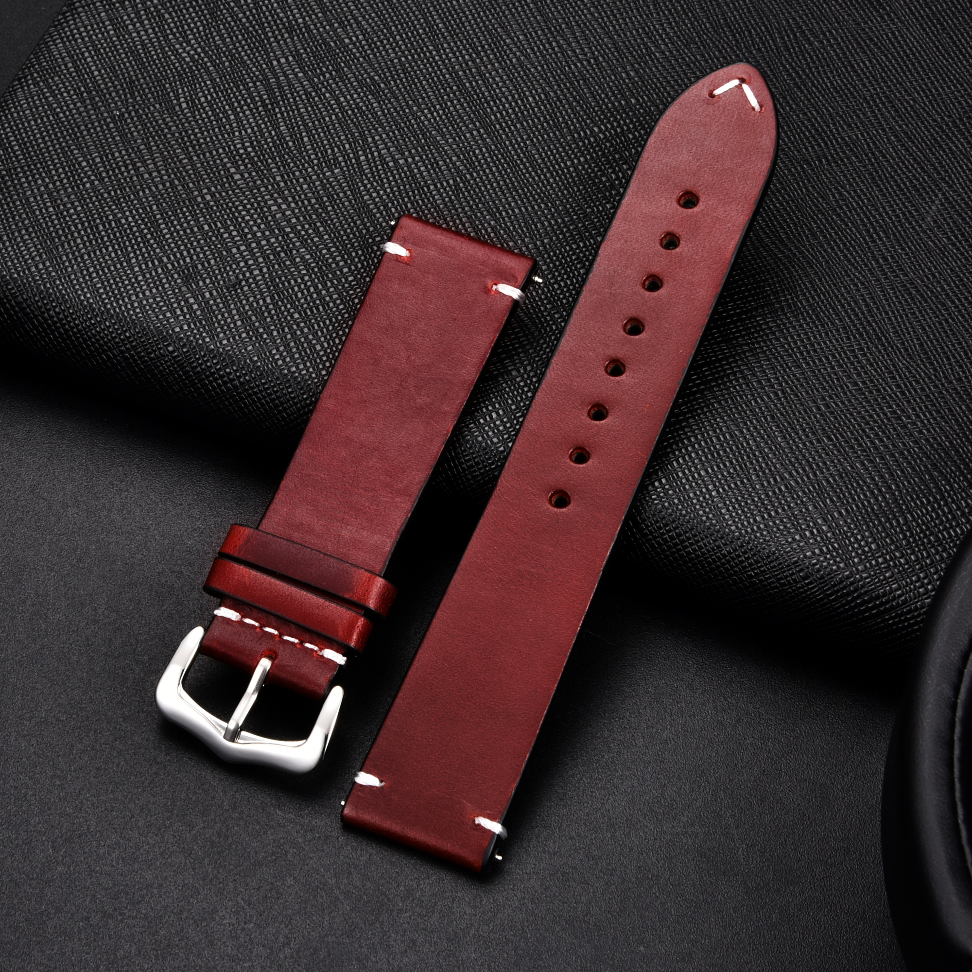 Retro Genuine Leather Strap Oil Wax Oily Discoloration Cowhide Leather Watchband 18 20 22 24mm High Quality Business Watch Band