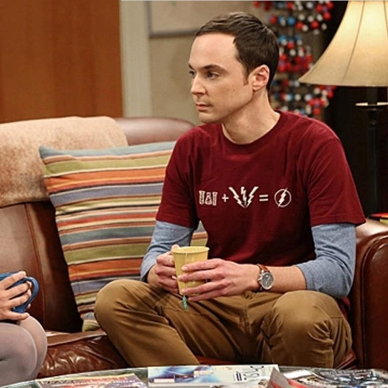 The Big Bang Theory Sheldon Cooper Same Style Short Sleeve Cotton T Shirt The Flash Costume Clothing Joggers Funny T-shirts Men