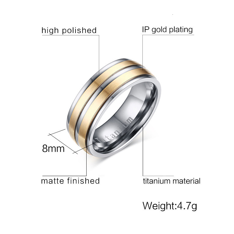 Gold IP Titanium Pipe Design Dome Engraved Ring Size 4 to 13 6MM, 8MM
