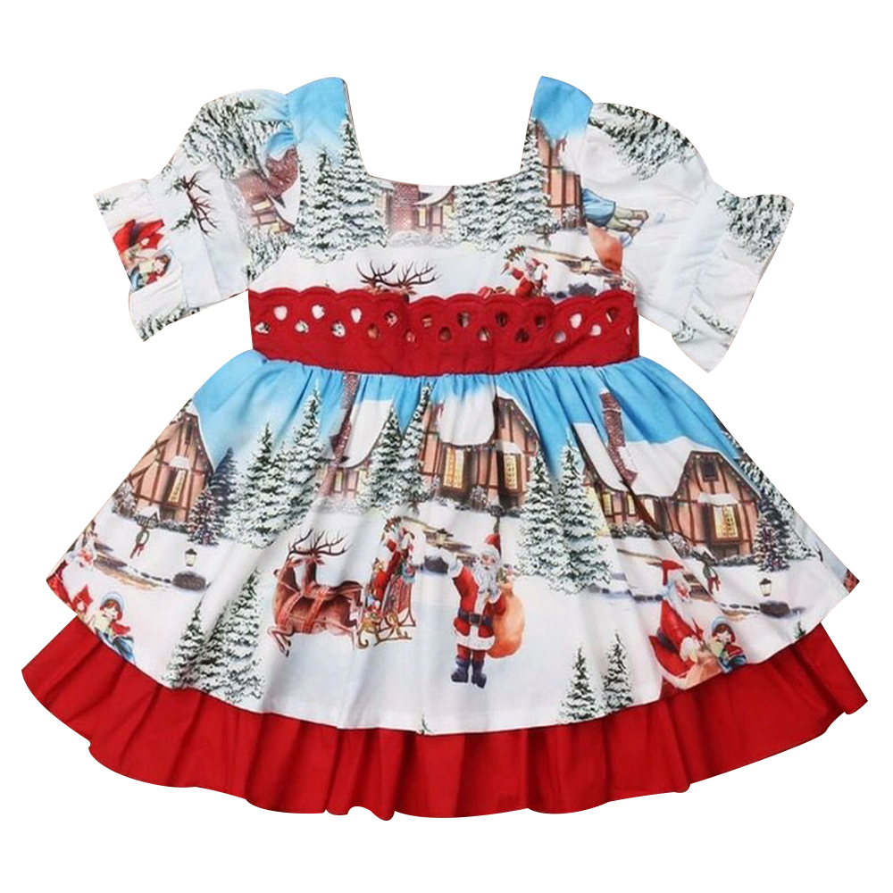 Toddler Baby Girls Deer Print Christmas Outfits Xmas Party Splice One Pices Tracksuit Clothes
