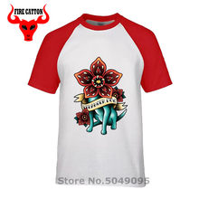 Funny demogorgon T shirts men tattoo ink graphic printing tshirt dustin tee Stranger dog T shirt flower Stranger things clothing(China)