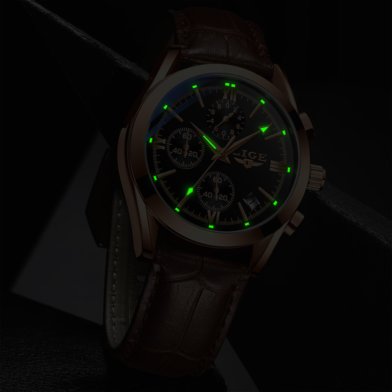 LIGE 2020 Leather Watches Men Casual Sport Chronograph Top Brand Luxury Quartz Men Watch Waterproof Date watch Relogio Masculino