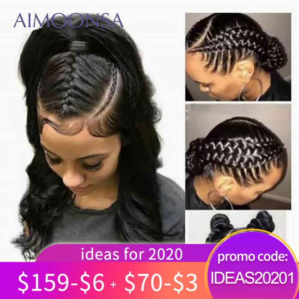 Aimoonsa Wigs Human-Hair-Wigs Natural-Hair Body-Wave Transparent Full-Lace Women Peruvian title=