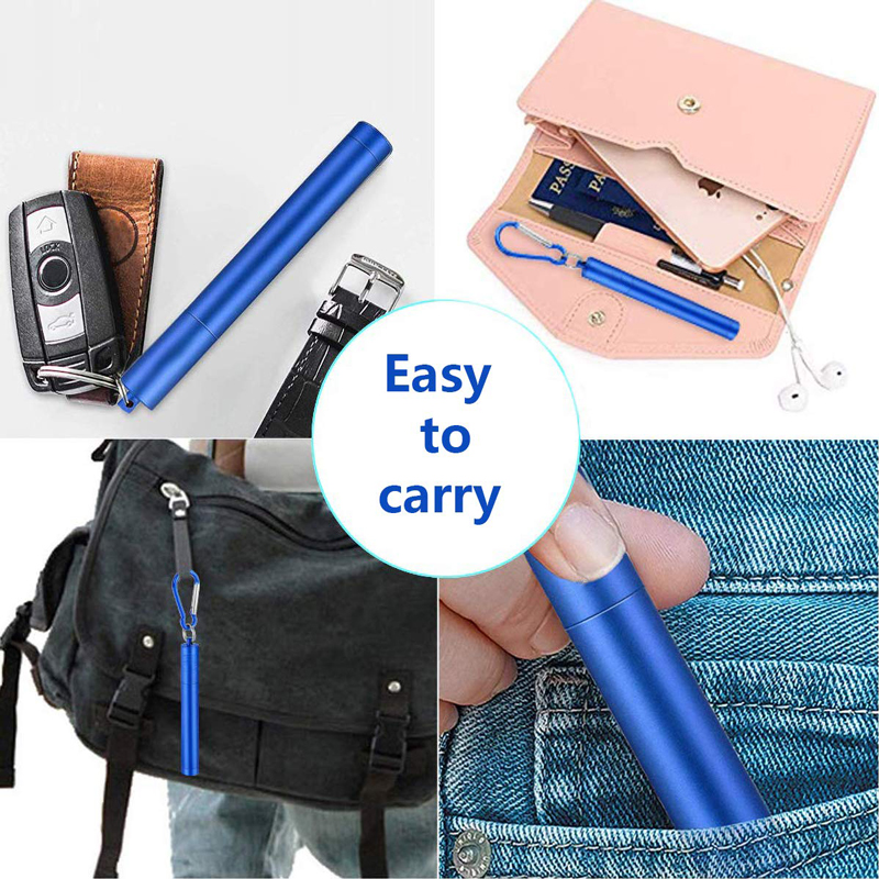 Metal Drinking StrawCollapsible Reusable Straw Portable Stainless Steel Straw with Case and Brush for Travel Outdoor