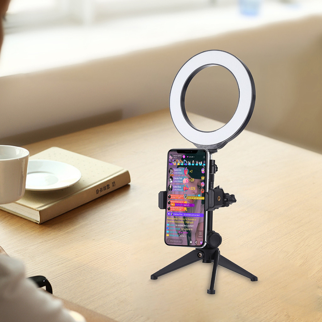 Phone-Stand-Holder Clamping Tripod Ring-Light Dslr-Camera Photography Automatic for Swivel title=