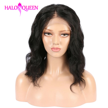 HALOQUEEN Wigs Short Bob-Wig Human-Hair Lace-Front Preplucked Black Women Brazilian