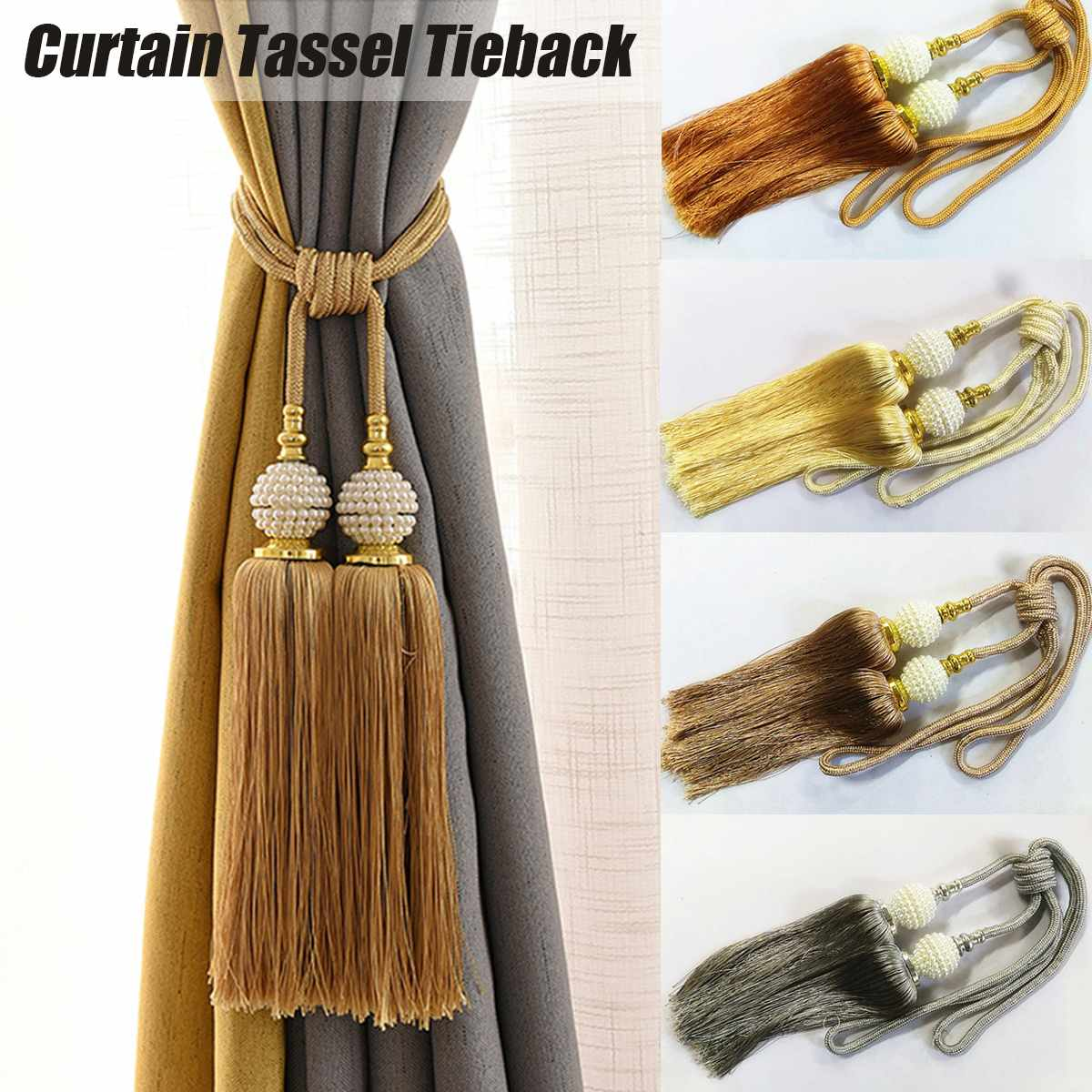 2pcs Handmade Window Curtain Rope Tie Backs Tieback Holdbacks Cord Tie Home Deco