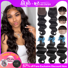 BEAUDIVA Brazilian Hair Body Wave 3 Bundles With Closure Human Hair Bundles With Closure