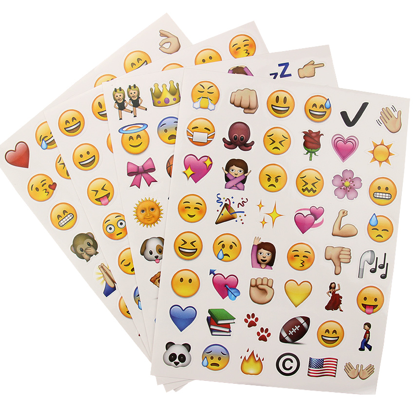 Stationery Sticker School-Supplies Smile-Face Kawaii Scrapbooking 4-Sheets/Set 192 DIY title=