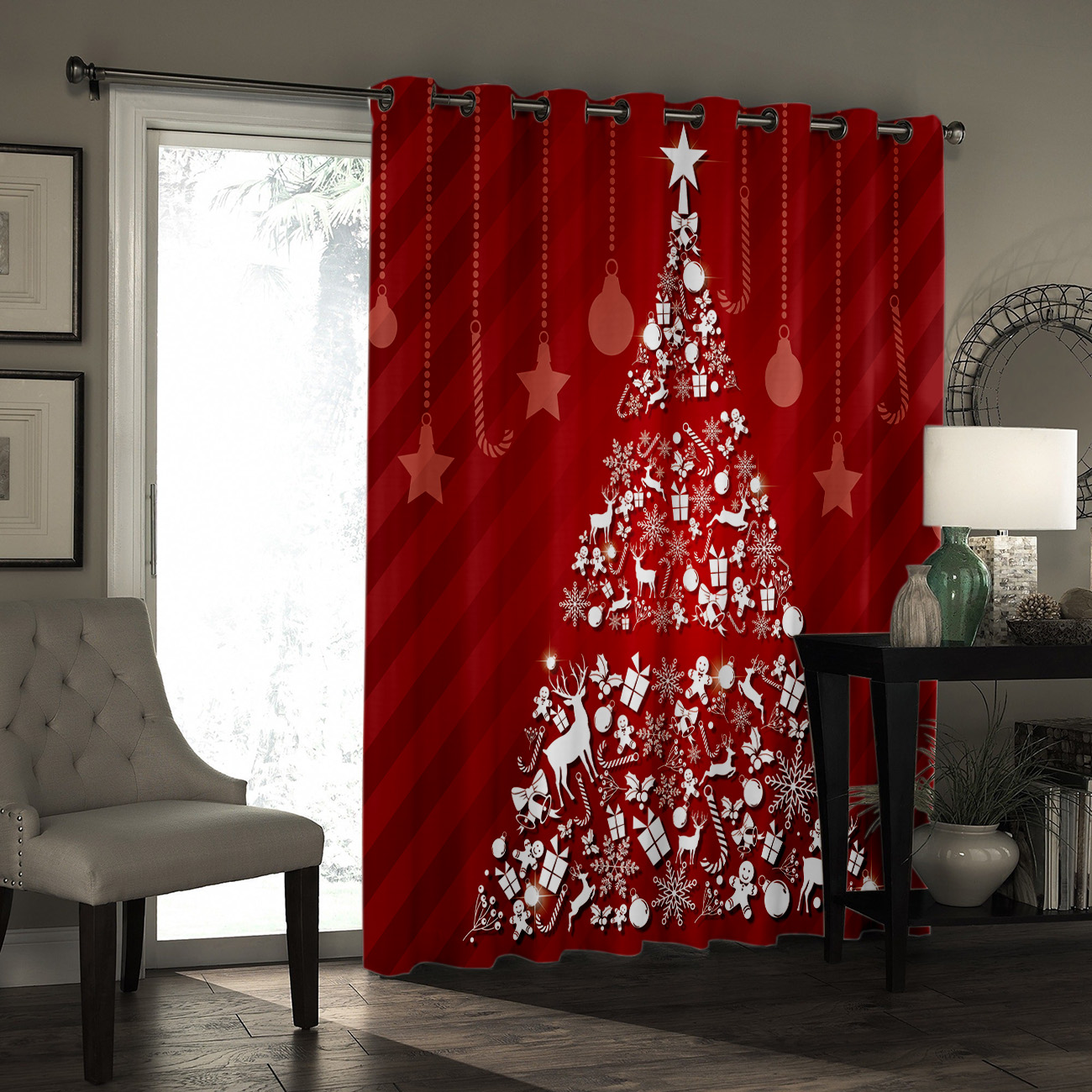 Christmas Tree Room Curtains Large Window Blackout Bedroom Outdoor Window Treatment Ideas Curtains And Drapes Party Decoration